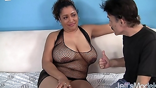 Flabby black slut Kira is fucked by a guy in a fraudulent wig