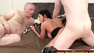CFNM dom teases small penis fatty
