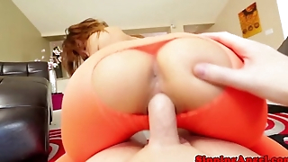 Stocking fetish asian babe fucks load of shit