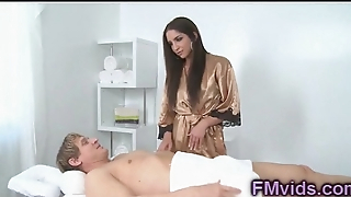 Sweet brunette Giselle Leon sucking cock after massage