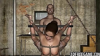 Tied up and hanging 3D cartoon neonate gets fucked