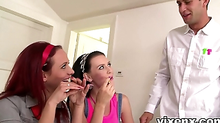 Two slutty teens give English teacher blowjob